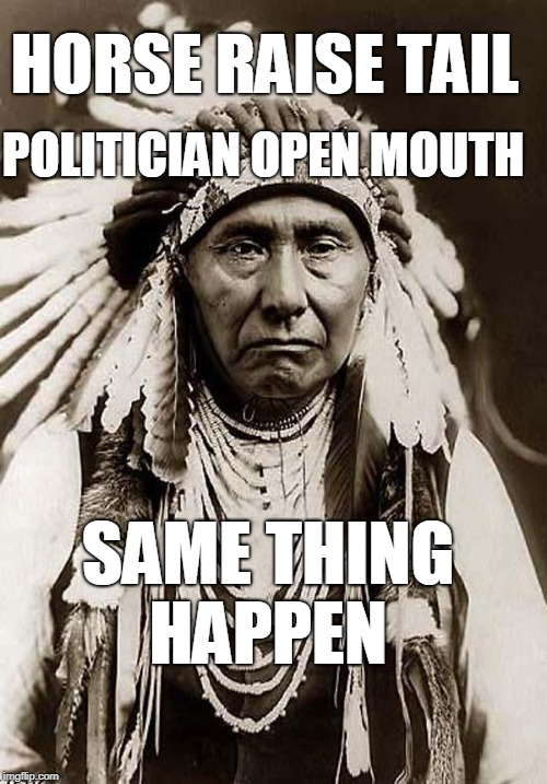 Wise words to remember  | HORSE RAISE TAIL SAME THING HAPPEN POLITICIAN OPEN MOUTH | image tagged in wise old indian chief,politicians suck,campaign promises,democrat,republican,memes | made w/ Imgflip meme maker