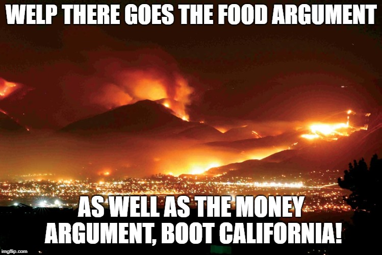 Cali fires | WELP THERE GOES THE FOOD ARGUMENT AS WELL AS THE MONEY ARGUMENT, BOOT CALIFORNIA! | image tagged in cali fires | made w/ Imgflip meme maker