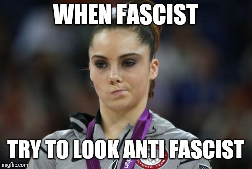 And to summarize... | WHEN FASCIST TRY TO LOOK ANTI FASCIST | image tagged in mckayla maroney not impressed,fascist,fascism,antifa | made w/ Imgflip meme maker