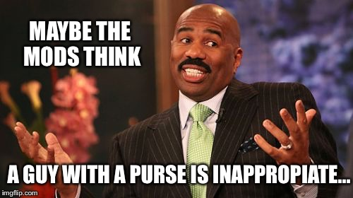 Steve Harvey Meme | MAYBE THE MODS THINK A GUY WITH A PURSE IS INAPPROPIATE... | image tagged in memes,steve harvey | made w/ Imgflip meme maker