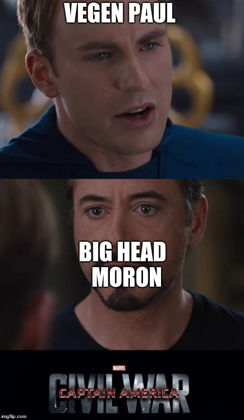 Marvel Civil War | VEGEN PAUL BIG HEAD  MORON | image tagged in memes,marvel civil war | made w/ Imgflip meme maker