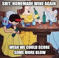 SHIT, HOMEMADE WINE AGAIN WISH WE COULD SCORE SOME MORE BLOW | made w/ Imgflip meme maker