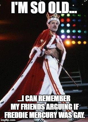 I'm so old. | I'M SO OLD... ...I CAN REMEMBER MY FRIENDS ARGUING IF FREDDIE MERCURY WAS GAY. | image tagged in freddie mercury king | made w/ Imgflip meme maker