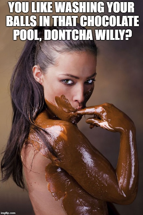 YOU LIKE WASHING YOUR BALLS IN THAT CHOCOLATE POOL, DONTCHA WILLY? | made w/ Imgflip meme maker