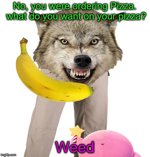 No, you were ordering Pizza. what do you want on your pizza? Weed | made w/ Imgflip meme maker