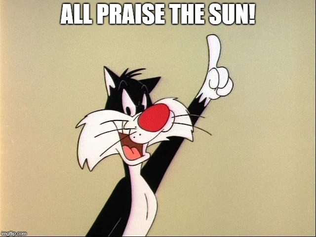sylvester | ALL PRAISE THE SUN! | image tagged in sylvester | made w/ Imgflip meme maker