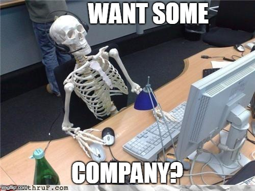 Waiting skeleton | WANT SOME COMPANY? | image tagged in waiting skeleton | made w/ Imgflip meme maker