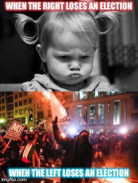 Comparison of the political sides | WHEN THE RIGHT LOSES AN ELECTION WHEN THE LEFT LOSES AN ELECTION | image tagged in politics,antifa,little girl | made w/ Imgflip meme maker