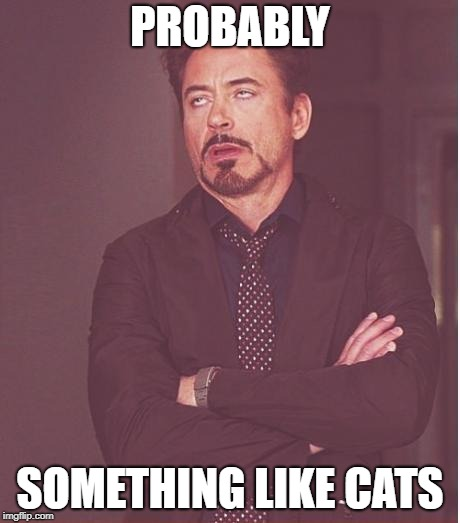 Face You Make Robert Downey Jr Meme | PROBABLY SOMETHING LIKE CATS | image tagged in memes,face you make robert downey jr | made w/ Imgflip meme maker