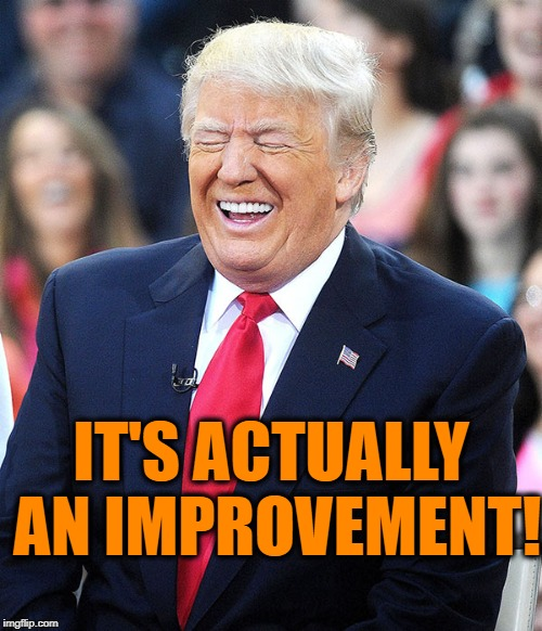 trump laughing | IT'S ACTUALLY AN IMPROVEMENT! | image tagged in trump laughing | made w/ Imgflip meme maker