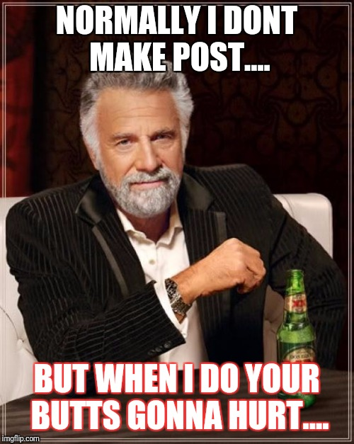 The Most Interesting Man In The World | NORMALLY I DONT MAKE POST.... BUT WHEN I DO YOUR BUTTS GONNA HURT.... | image tagged in memes,the most interesting man in the world,butt hurt,when you make a post,lol,haters | made w/ Imgflip meme maker
