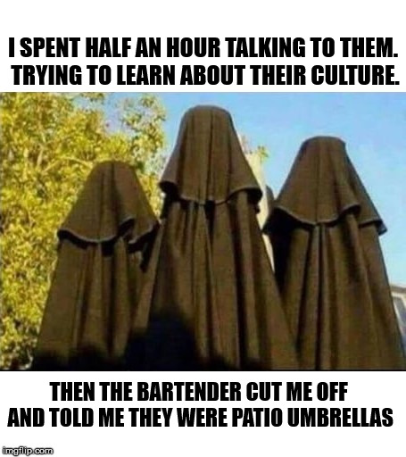 I thought I was being multi-cultural. | I SPENT HALF AN HOUR TALKING TO THEM. TRYING TO LEARN ABOUT THEIR CULTURE. THEN THE BARTENDER CUT ME OFF AND TOLD ME THEY WERE PATIO UMBRELL | image tagged in memes,umbrellas | made w/ Imgflip meme maker