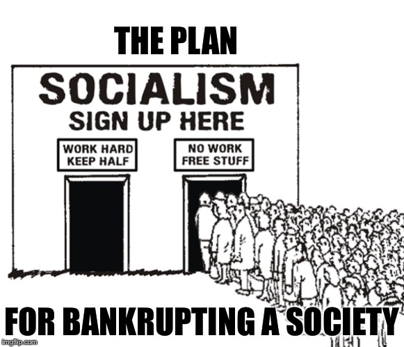 Obsolete since the 1850s | THE PLAN FOR BANKRUPTING A SOCIETY | image tagged in socialism,society,memes | made w/ Imgflip meme maker