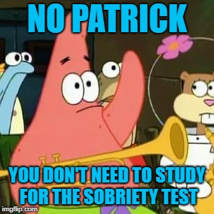 no patrick | NO PATRICK YOU DON'T NEED TO STUDY FOR THE SOBRIETY TEST | image tagged in no patrick | made w/ Imgflip meme maker