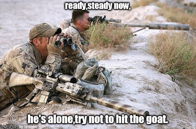 shooting ragheads,don't hit the goat. | ready,steady now, he's alone,try not to hit the goat. | image tagged in sniper pair,animal rights,endless war | made w/ Imgflip meme maker