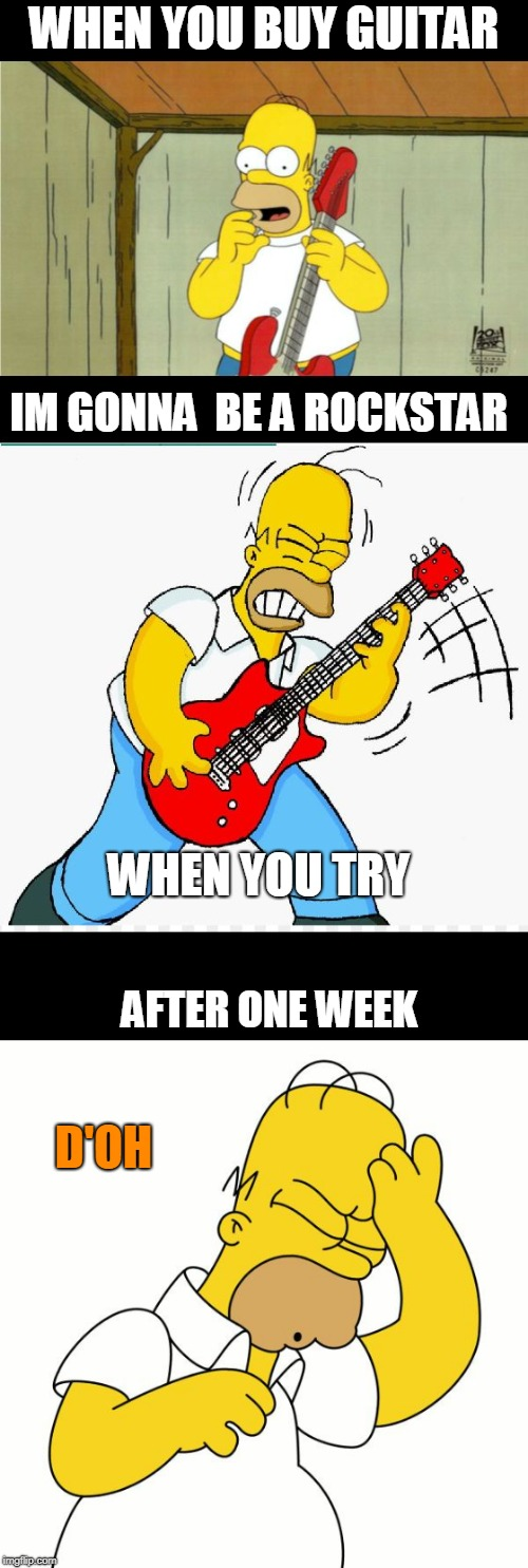 homer guitar doh | WHEN YOU BUY GUITAR AFTER ONE WEEK WHEN YOU TRY IM GONNA  BE A ROCKSTAR D'OH | image tagged in homer,guitar,doh | made w/ Imgflip meme maker