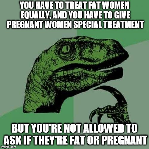 Fat or Pregnant? | YOU HAVE TO TREAT FAT WOMEN EQUALLY, AND YOU HAVE TO GIVE PREGNANT WOMEN SPECIAL TREATMENT BUT YOU'RE NOT ALLOWED TO ASK IF THEY'RE FAT OR P | image tagged in fat,pregnant,equality,feminism | made w/ Imgflip meme maker