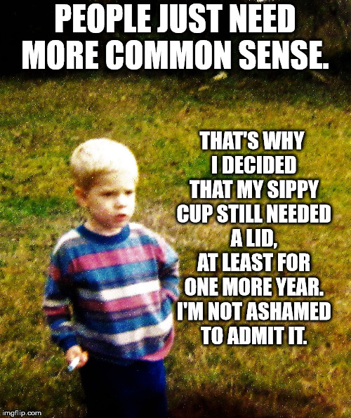 contemplative toddler | PEOPLE JUST NEED MORE COMMON SENSE. THAT'S WHY I DECIDED THAT MY SIPPY CUP STILL NEEDED A LID, AT LEAST FOR ONE MORE YEAR. I'M NOT ASHAMED T | image tagged in contemplative toddler | made w/ Imgflip meme maker