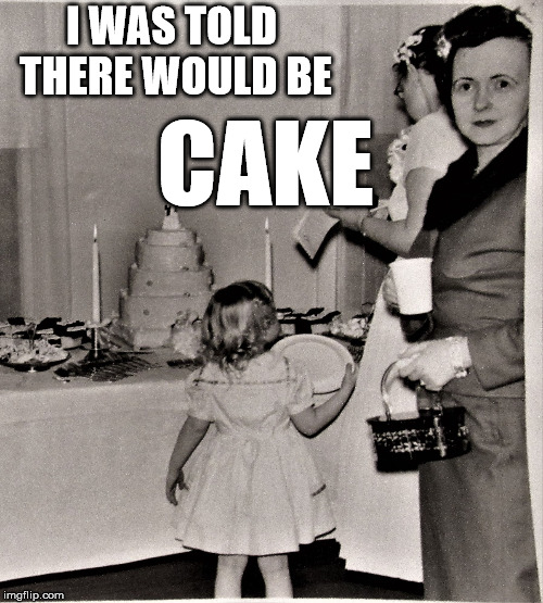 Judgemental Wedding Guest | I WAS TOLD THERE WOULD BE CAKE | image tagged in judgemental wedding guest | made w/ Imgflip meme maker