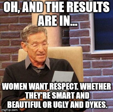 Maury Lie Detector Meme | OH, AND THE RESULTS ARE IN... WOMEN WANT RESPECT. WHETHER THEY'RE SMART AND BEAUTIFUL OR UGLY AND DYKES. | image tagged in memes,maury lie detector | made w/ Imgflip meme maker