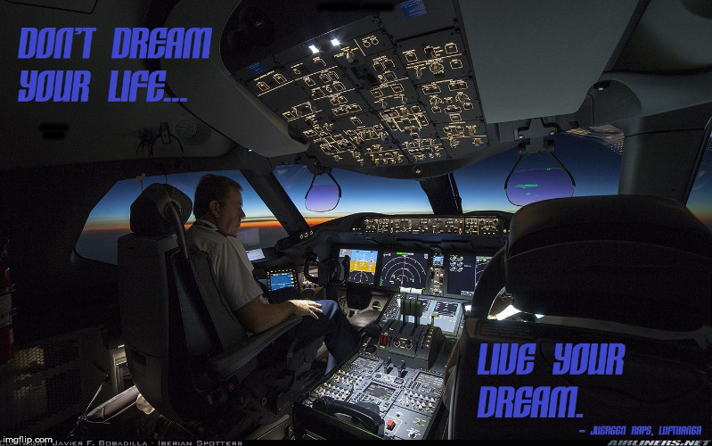 Check your heading periodically |  DON'T DREAM YOUR LIFE... LIVE YOUR DREAM. -- JUERGEN RAPS, LUFTHANSA | image tagged in pilot,living the dream | made w/ Imgflip meme maker