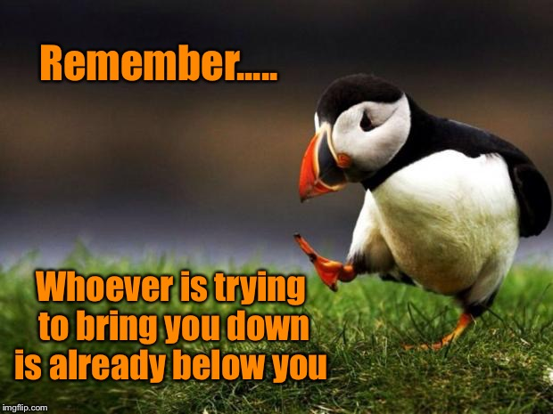 Unpopular Opinion Puffin |  Remember..... Whoever is trying to bring you down is already below you | image tagged in memes,unpopular opinion puffin,inspiration,keep your head up | made w/ Imgflip meme maker