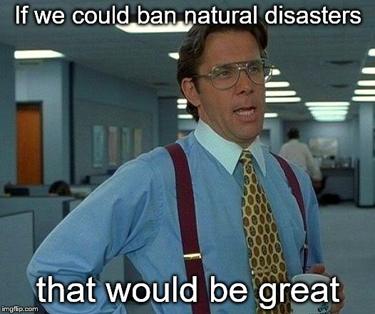 That Would Be Great Meme | If we could ban natural disasters that would be great | image tagged in memes,that would be great | made w/ Imgflip meme maker