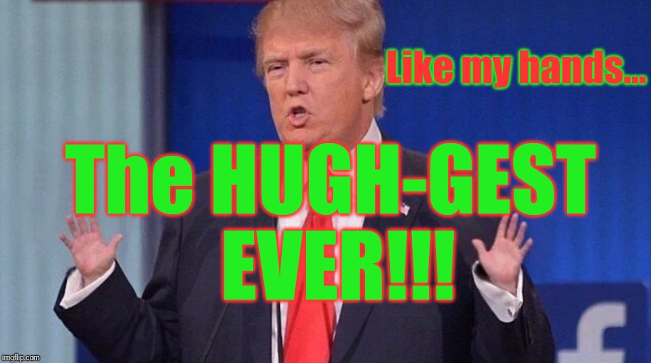 Trump Tiny Hands | The HUGH-GEST EVER!!! Like my hands... | image tagged in trump tiny hands | made w/ Imgflip meme maker
