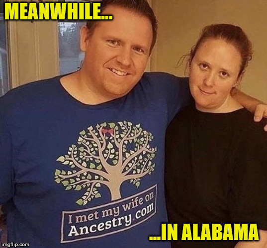 you might be a redneck if your family tree doesn't fork | MEANWHILE... ...IN ALABAMA | image tagged in marriage,ancestory dot com,alabama,redneck | made w/ Imgflip meme maker