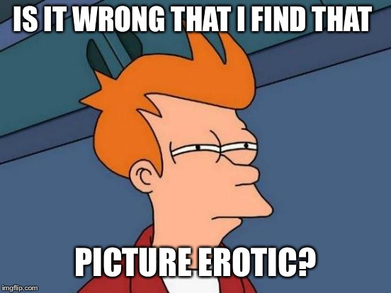 Futurama Fry Meme | IS IT WRONG THAT I FIND THAT PICTURE EROTIC? | image tagged in memes,futurama fry | made w/ Imgflip meme maker