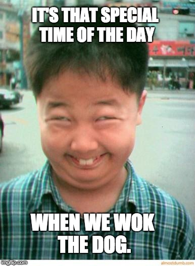 funny asian face | IT'S THAT SPECIAL TIME OF THE DAY WHEN WE WOK THE DOG. | image tagged in funny asian face | made w/ Imgflip meme maker