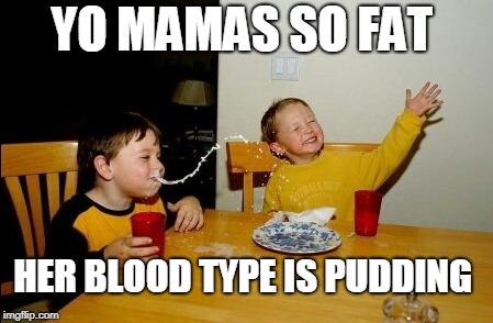 Yo Mamas So Fat | YO MAMAS SO FAT HER BLOOD TYPE IS PUDDING | image tagged in memes,yo mamas so fat,fat woman,fat girl,pudding,yo mama | made w/ Imgflip meme maker