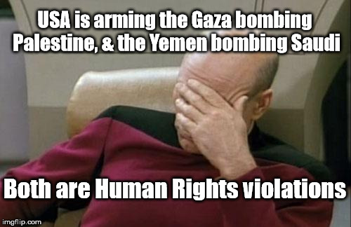 Captain Picard Facepalm | USA is arming the Gaza bombing Palestine, & the Yemen bombing Saudi Both are Human Rights violations | image tagged in memes,captain picard facepalm,gaza,yemen | made w/ Imgflip meme maker