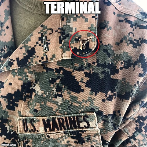 TERMINAL | image tagged in lance corporal,marines,lcpl,terminal,marine corps,marine | made w/ Imgflip meme maker