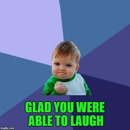 Success Kid Meme | GLAD YOU WERE ABLE TO LAUGH | image tagged in memes,success kid | made w/ Imgflip meme maker
