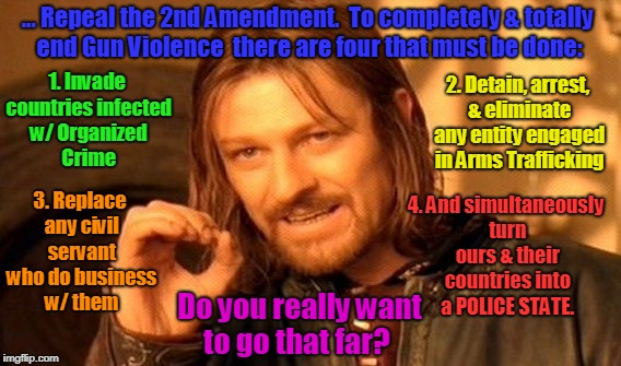 One Does Not Simply... | ... Repeal the 2nd Amendment.  To completely & totally end Gun Violence  there are four that must be done: 1. Invade countries infected w/ O | image tagged in memes,one does not simply,2nd amendment,gun violence,gun control,gun rights | made w/ Imgflip meme maker