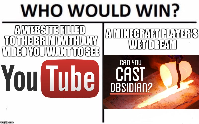 Who Would Win? | A WEBSITE FILLED TO THE BRIM WITH ANY VIDEO YOU WANT TO SEE A MINECRAFT PLAYER'S WET DREAM | image tagged in memes,who would win | made w/ Imgflip meme maker