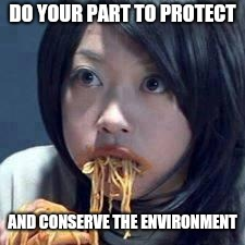 asian eating sup | DO YOUR PART TO PROTECT AND CONSERVE THE ENVIRONMENT | image tagged in asian eating sup | made w/ Imgflip meme maker