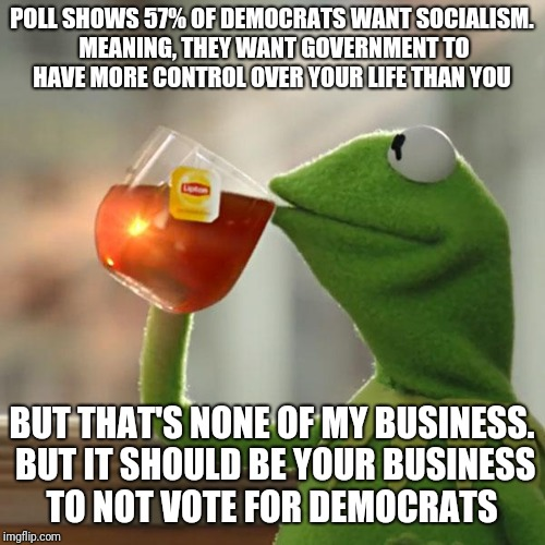 Stop voting for democrats | POLL SHOWS 57% OF DEMOCRATS WANT SOCIALISM. MEANING, THEY WANT GOVERNMENT TO HAVE MORE CONTROL OVER YOUR LIFE THAN YOU BUT THAT'S NONE OF MY | image tagged in memes,but thats none of my business,kermit the frog | made w/ Imgflip meme maker