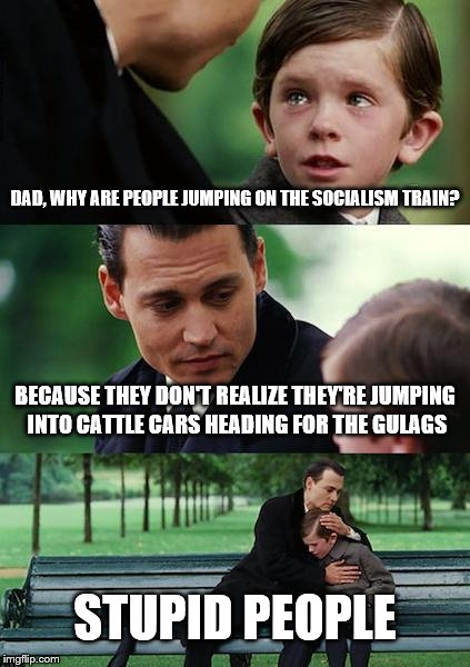 Finding Neverland | DAD, WHY ARE PEOPLE JUMPING ON THE SOCIALISM TRAIN? BECAUSE THEY DON'T REALIZE THEY'RE JUMPING INTO CATTLE CARS HEADING FOR THE GULAGS STUPI | image tagged in memes,finding neverland | made w/ Imgflip meme maker