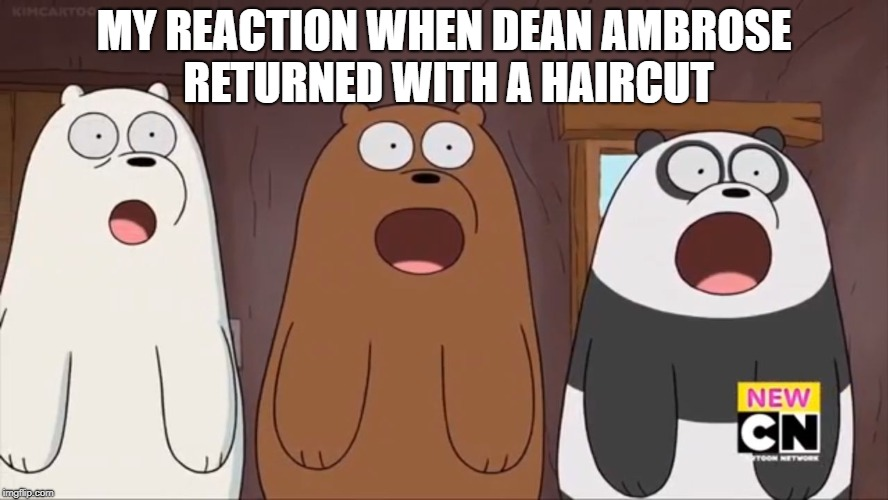 We Blown Bears | MY REACTION WHEN DEAN AMBROSE RETURNED WITH A HAIRCUT | image tagged in we blown bears | made w/ Imgflip meme maker