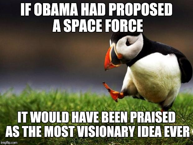 Unpopular Opinion Puffin | IF OBAMA HAD PROPOSED A SPACE FORCE IT WOULD HAVE BEEN PRAISED AS THE MOST VISIONARY IDEA EVER | image tagged in memes,unpopular opinion puffin,space force,obama | made w/ Imgflip meme maker