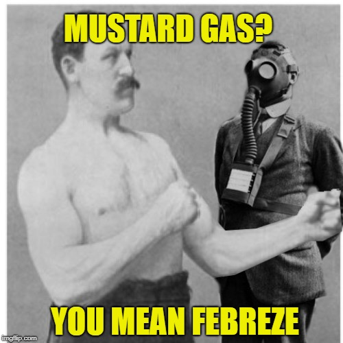 MUSTARD GAS? YOU MEAN FEBREZE | image tagged in funny memes,overly manly man,air freshener,poison,gas mask,gas | made w/ Imgflip meme maker