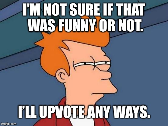 I'M NOT SURE IF THAT WAS FUNNY OR NOT. I'LL UPVOTE ANY WAYS. | image tagged in memes,futurama fry | made w/ Imgflip meme maker