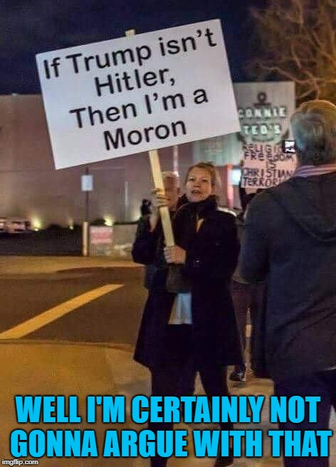 Sometimes a person says all that needs to be said... | WELL I'M CERTAINLY NOT GONNA ARGUE WITH THAT | image tagged in protest sign,memes,funny signs,funny,morons,protesting | made w/ Imgflip meme maker