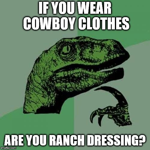 I don't know ._. | IF YOU WEAR COWBOY CLOTHES ARE YOU RANCH DRESSING? | image tagged in memes,philosoraptor | made w/ Imgflip meme maker