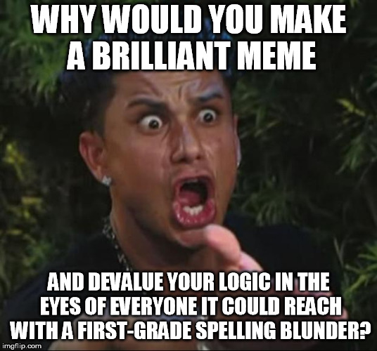 I hate to see outstanding, useful wit kill itself by looking like it was written by an illiterate. English just isn't that hard. | WHY WOULD YOU MAKE A BRILLIANT MEME AND DEVALUE YOUR LOGIC IN THE EYES OF EVERYONE IT COULD REACH WITH A FIRST-GRADE SPELLING BLUNDER? | image tagged in memes,dj pauly d,bad grammar and spelling memes | made w/ Imgflip meme maker