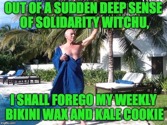 OUT OF A SUDDEN DEEP SENSE OF SOLIDARITY WITCHU, I SHALL FOREGO MY WEEKLY BIKINI WAX AND KALE COOKIE | made w/ Imgflip meme maker