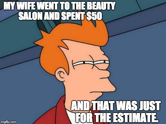 Futurama Fry Meme | MY WIFE WENT TO THE BEAUTY SALON AND SPENT $50 AND THAT WAS JUST FOR THE ESTIMATE. | image tagged in memes,futurama fry | made w/ Imgflip meme maker