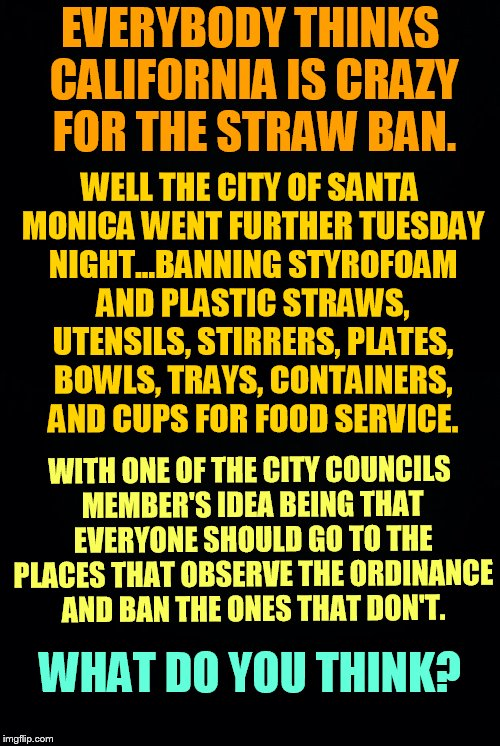 I Don't Really Do Political Memes Here But... | EVERYBODY THINKS CALIFORNIA IS CRAZY FOR THE STRAW BAN. WITH ONE OF THE CITY COUNCILS MEMBER'S IDEA BEING THAT EVERYONE SHOULD GO TO THE PLA | image tagged in memes,california,city,banned,plastic,food service items | made w/ Imgflip meme maker